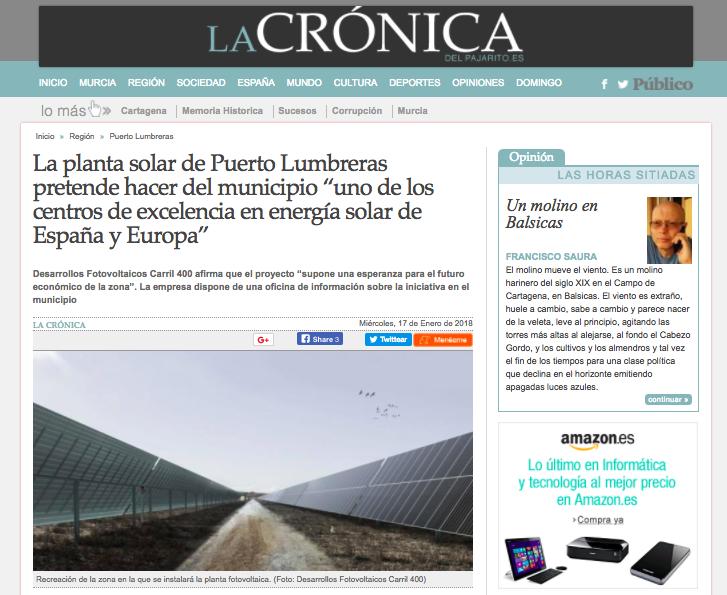 Carril Solar en La Crónica